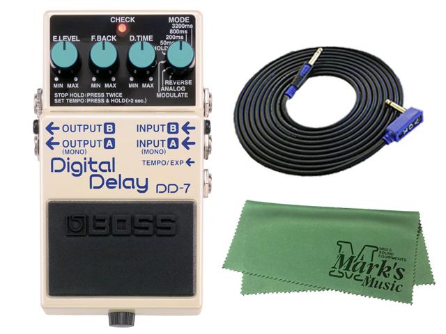 【即納可能】BOSS Digital Delay DD-7 + 3m ギターケーブル VOX VGS-30 セット[マークス・オリジナルクロス付](新品)【送料無料】