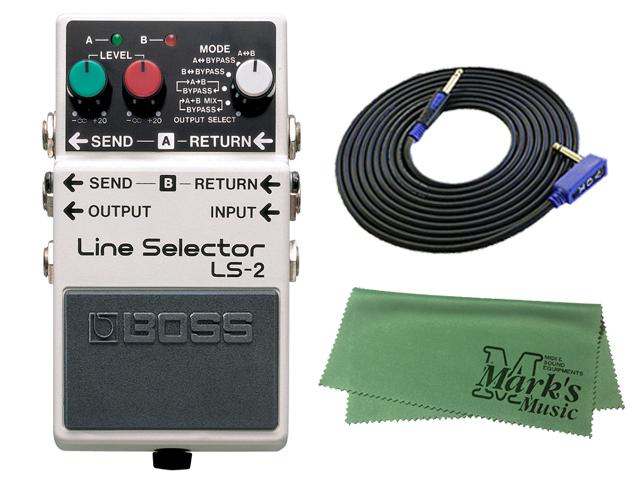 【即納可能】BOSS Line Selector LS-2 + 3m ギターケーブル VOX VGS-30 セット[マークス・オリジナルクロス付](新品)【送料無料】