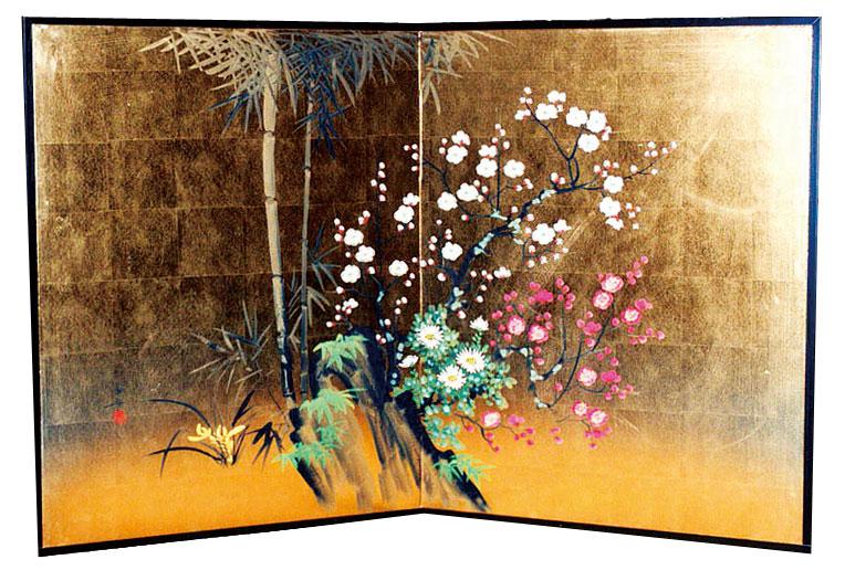 【肉筆枕美術屏風】二枚折 縦型金屏風 四君子【全国送料無料】