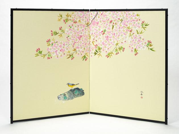 【肉筆美術屏風】二枚折 縦型 「桜」【全国送料無料】