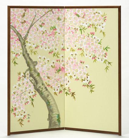 【肉筆美術屏風】三尺二曲 「桜」【全国送料無料】