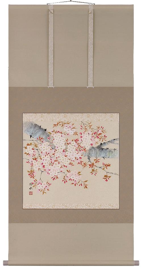 掛け軸/掛軸 桜(奥田吟水)【送料無料】【代引き手数料無料】