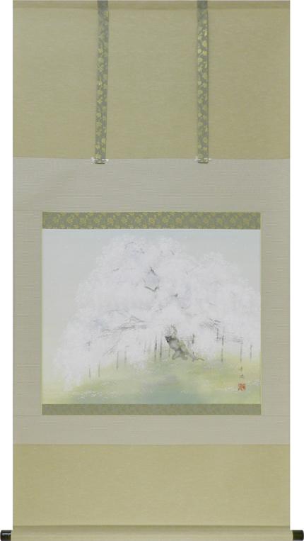 掛け軸 桜(出口華凰)【送料無料】【代引き手数料無料】