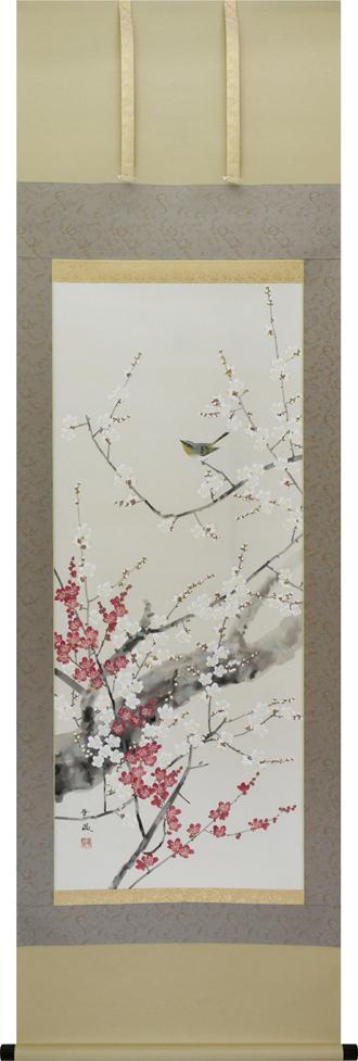 掛け軸 紅白梅に鶯(出口華凰)【送料無料】【代引き手数料無料】