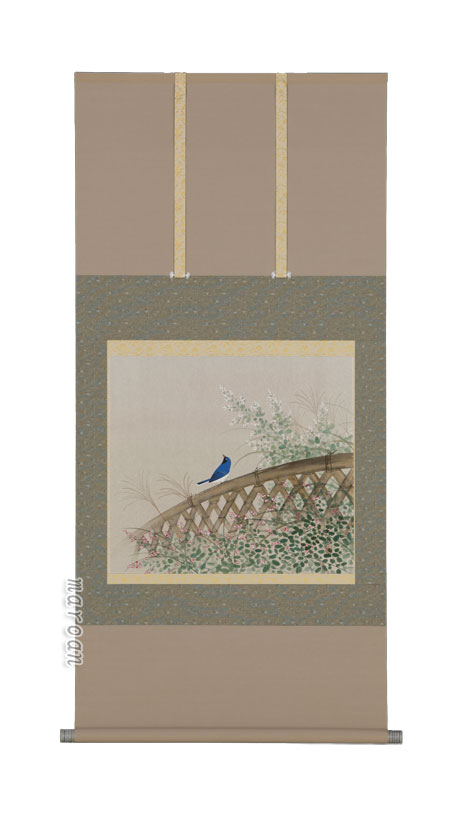 掛け軸/掛軸 萩に小鳥(鈴木 秀湖)(尺八横)【送料無料】【代引手数料無料】