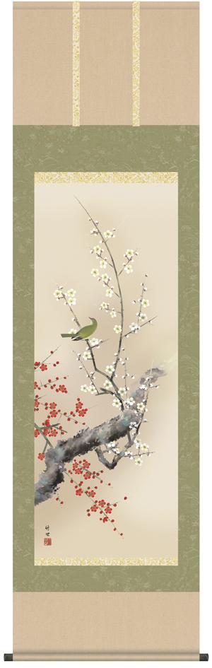 【掛け軸/掛軸/花鳥画】紅白梅に鶯(田村 竹世)【送料無料】【代引き手数料無料】