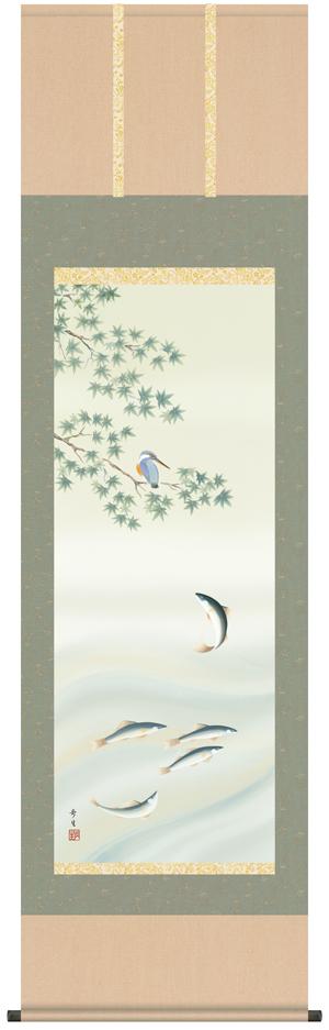 掛け軸/掛軸/かけじく【花鳥画】楓に鮎【四季揃・夏】(北山 歩生)【送料無料】【代引き手数料無料】