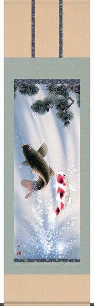 掛け軸/掛軸【鯉】夫婦昇鯉(森山 観月)【送料無料】【代引手数料無料】