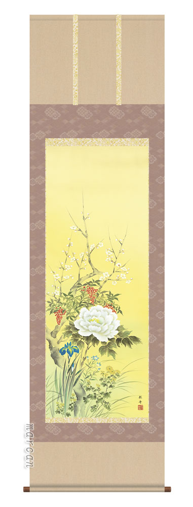 掛け軸 掛軸 花鳥 尺五 四季花(長江 桂舟)送料無料 代引手数料無料