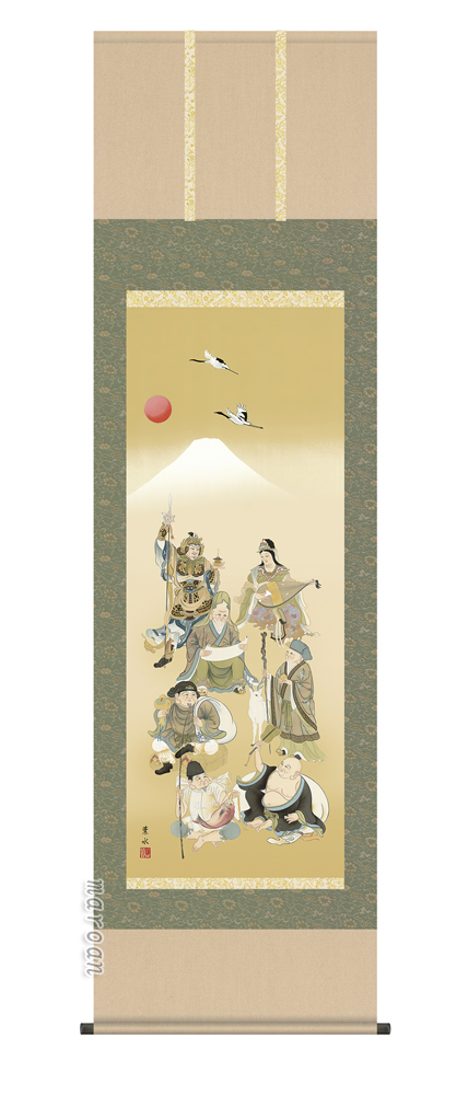 掛け軸/掛軸【慶祝】七福神(緒方 葉水)【送料無料】【代引手数料無料】
