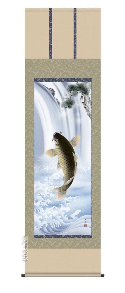 掛け軸/掛軸【鯉】大昇鯉(森山 観月)【送料無料】【代引手数料無料】