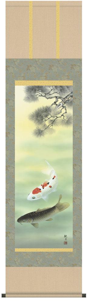 掛け軸/掛軸【端午の節句・鯉】【尺三】松下遊鯉(森山 観月)【送料無料】【代引手数料無料】