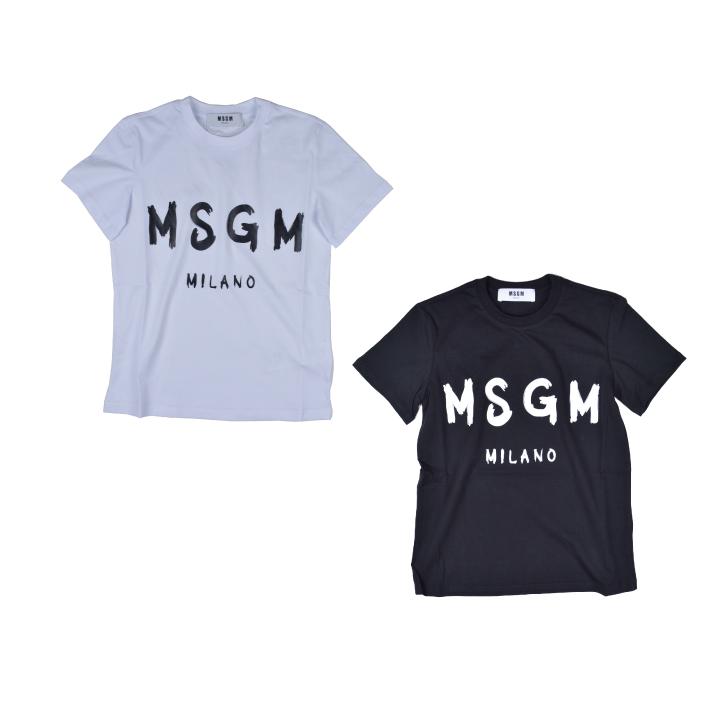 【5%還元!】MSGM エムエスジーエム /BRUSH STROLES MSGM LOGO T SHIRT カットソー Tシャツ クルーネック ブラシロゴ レディース【marquee】