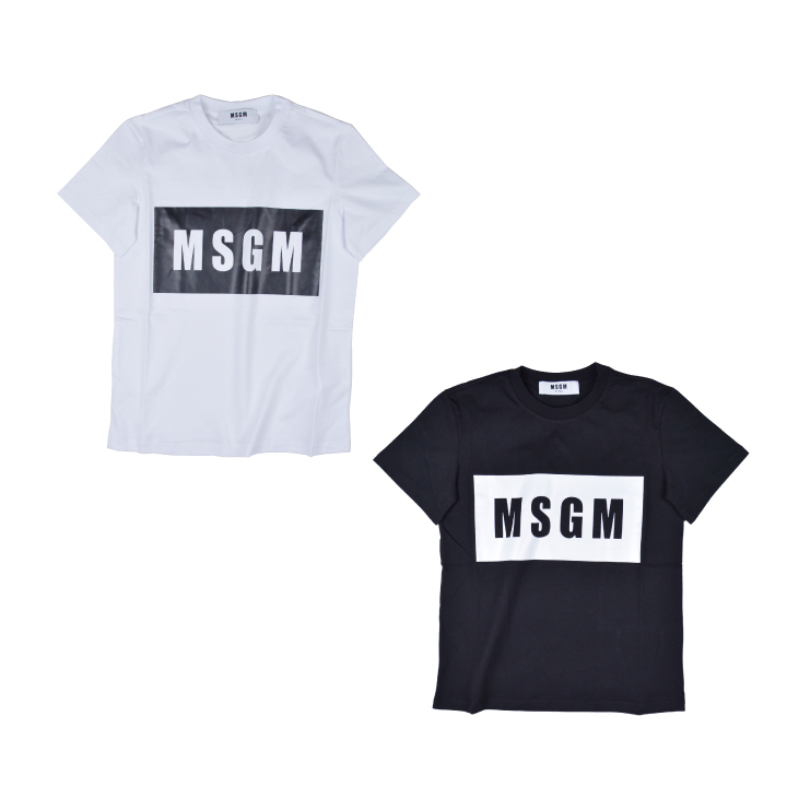 【5%還元!】MSGM エムエスジーエム /MSGM PANEL T-SHIRT 2641MDM95 カットソー Tシャツ クルーネック ロゴ レディース【marquee】