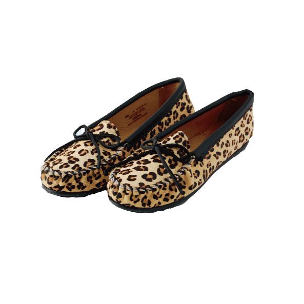 MINNETONKAミネトンカFULL LEOPARD SUEDE MOCフル レオパード スエード モック モカシンレディース 靴 革 ローファー フリンジ ブーツ フラット シューズ ハラコ[ 387F ]