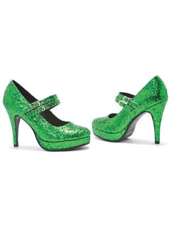 Green Glitter シューズ 靴 ハロウィン コスプレ 衣装 仮装 小道具 おもしろい イベント パーティ ハロウィーン 学芸会