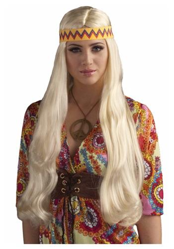 Blonde Hippie Chick ウィッグ w/ Headband クリスマス ハロウィン コスプレ 衣装 仮装 小道具 おもしろい イベント パーティ ハロウィーン 学芸会