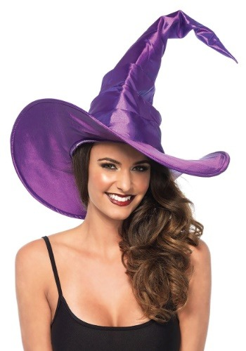 Large Purple Ruched Witch Women's 帽子 ハット ハロウィン コスプレ 衣装 仮装 小道具 おもしろい イベント パーティ ハロウィーン 学芸会