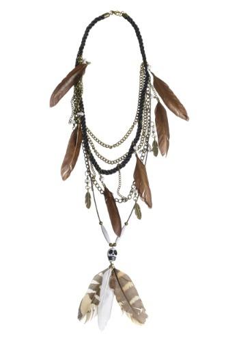 Feathers and Skull Voodoo Multi Strand Necklace クリスマス ハロウィン コスプレ 衣装 仮装 小道具 おもしろい イベント パーティ ハロウィーン 学芸会