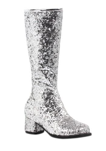 Girls Silver Glitter Go-Go ブーツ ハロウィン コスプレ 衣装 仮装 小道具 おもしろい イベント パーティ ハロウィーン 学芸会