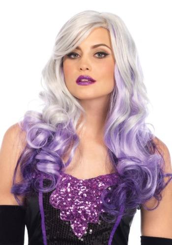 Women's Wavy Grey/Purple Ombre ウィッグ ハロウィン コスプレ 衣装 仮装 小道具 おもしろい イベント パーティ ハロウィーン 学芸会