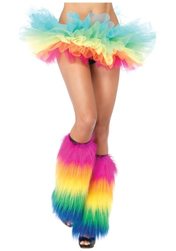 Rainbow Furry Leg Warmers ハロウィン コスプレ 衣装 仮装 小道具 おもしろい イベント パーティ ハロウィーン 学芸会