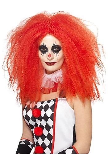 Women's レッド Crimped ピエロ ウィッグ ハロウィン コスプレ 衣装 仮装 小道具 おもしろい イベント パーティ ハロウィーン 学芸会