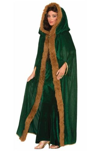 Faux Fur Trimmed Green マント ケープ ハロウィン コスプレ 衣装 仮装 小道具 おもしろい イベント パーティ ハロウィーン 学芸会