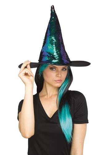 Flip Sequin Witch 帽子 ハット Teal クリスマス ハロウィン コスプレ 衣装 仮装 小道具 おもしろい イベント パーティ ハロウィーン 学芸会