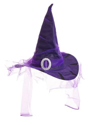 The ブラック Witch 帽子 ハット with Purple Veil クリスマス ハロウィン コスプレ 衣装 仮装 小道具 おもしろい イベント パーティ ハロウィーン 学芸会