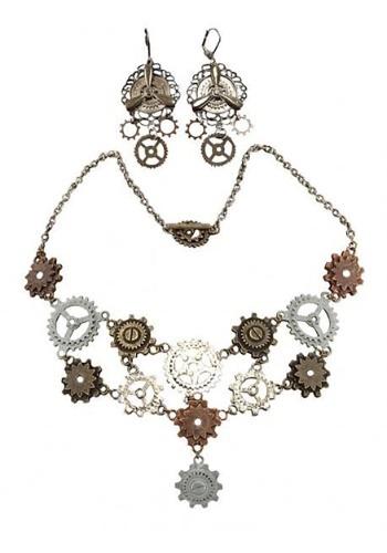 Multi Gear Necklace & Earrings for 大人用s クリスマス ハロウィン コスプレ 衣装 仮装 小道具 おもしろい イベント パーティ ハロウィーン 学芸会