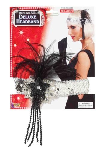 ブラック and Silver Beaded フラッパー Headband クリスマス ハロウィン コスプレ 衣装 仮装 小道具 おもしろい イベント パーティ ハロウィーン 学芸会