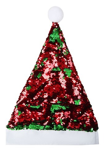 レッド and Green Santa Claus Flip Sequin 帽子 ハット クリスマス ハロウィン コスプレ 衣装 仮装 小道具 おもしろい イベント パーティ ハロウィーン 学芸会