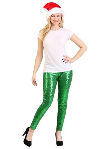 Tipsy Elves Green Sequin Women's Leggings ハロウィン コスプレ 衣装 仮装 小道具 おもしろい イベント パーティ ハロウィーン 学芸会