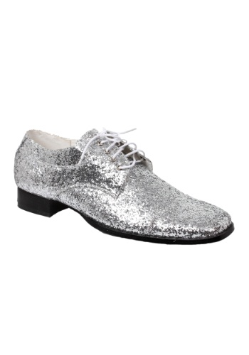 Men's Silver Glitter ディスコ シューズ 靴 ハロウィン コスプレ 衣装 仮装 小道具 おもしろい イベント パーティ ハロウィーン 学芸会