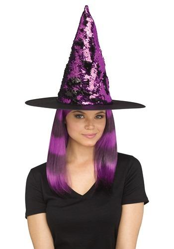 Women's Flip Sequin Purple Witch 帽子 ハット クリスマス ハロウィン コスプレ 衣装 仮装 小道具 おもしろい イベント パーティ ハロウィーン 学芸会