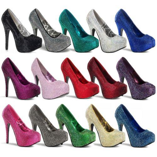 セクシー Heels シューズ 靴 レディス 女性用 Rhinestone Platform Pumps 大人用 Stilettos クリスマス ハロウィン コスチューム コスプレ 衣装 変装 仮装
