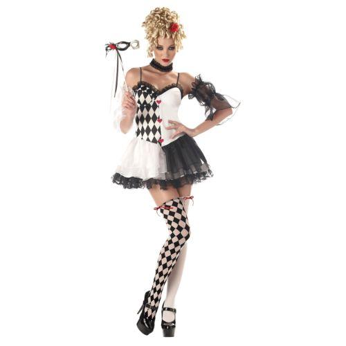 Harlequin 大人用 レディス 女性用 セクシー Jester Masquerade ハロウィン コスチューム コスプレ 衣装 変装 仮装