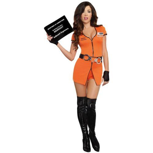 PrisonerWomen's セクシー Convict オレンジ Outfit Funny クリスマス ハロウィン コスチューム コスプレ 衣装 変装 仮装
