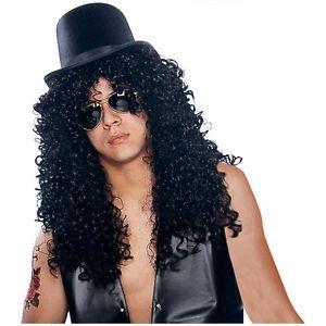 Long Curly ブラック Rock Star Wig Slash 大人用 男性用 メンズ アクセサリー クリスマス ハロウィン コスチューム コスプレ 衣装 変装 仮装