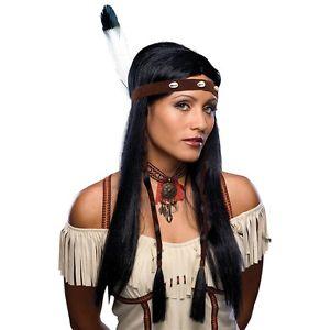 セクシー インディアンWig 大人用 レディス 女性用 Long ブラック Pocahontas Native American ガール アメリカンガール ハロウィン コスチューム コスプレ 衣装 変装 仮装