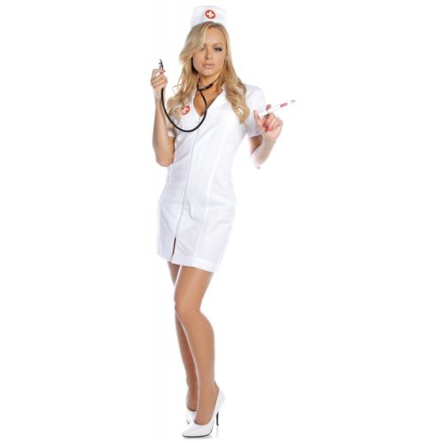 Hot Flash ナース 看護婦さん 看護師 大人用 ホワイト ドレス ハロウィン コスチューム コスプレ 衣装 変装 仮装
