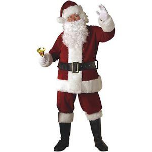 祝日 Deluxe Plush Crimson Dark Red Santa Claus Suit Costume Set - Size 仮装 XL スーツSet ハロウィン 変装 コスプレ クリスマス サンタクロース お得 コスチューム 全品ポイント5倍 X-Large 衣装