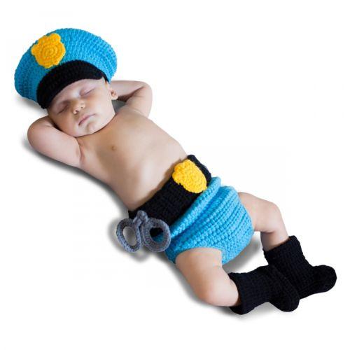 Crochet Diaper Cover Newborn ベイビー Police ポリス 警察 おまわりさん 女神 Up ハロウィン コスチューム コスプレ 衣装 変装 仮装