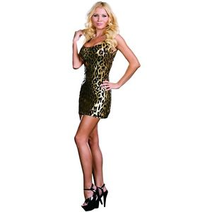 レオパード ヒョウ Print ドレス セクシー Gold Foil Mini Cat CougarStarter ハロウィン コスチューム コスプレ 衣装 変装 仮装