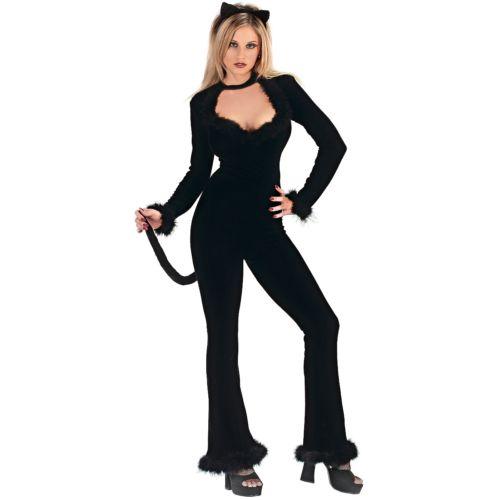 Feline セクシー 大人用 レディス 女性用 ブラック Cat Velour Jumpsuit クリスマス ハロウィン コスチューム コスプレ 衣装 変装 仮装