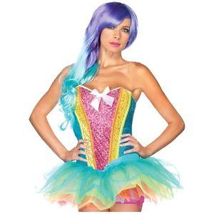 Rainbow キラキラ Corset 大人用 Fairy ハロウィン コスチューム コスプレ 衣装 変装 仮装