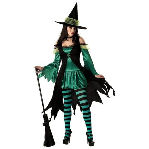 魔女 大人用 レディス 女性用 Emerald グリーン & ブラック ハロウィン コスチューム コスプレ 衣装 変装 仮装