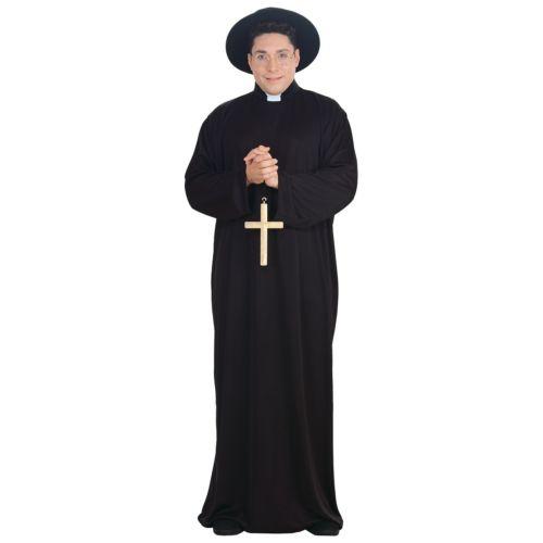 Priest 大人用 Long ブラック ローブ クリスマス ハロウィン コスチューム コスプレ 衣装 変装 仮装