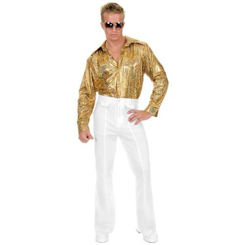 【ポイント最大29倍●お買い物マラソン限定!エントリー】Gold Glitter Hologram ディスコ パーティ クラブ シャツ 大人用 ハロウィン コスチューム コスプレ 衣装 変装 仮装